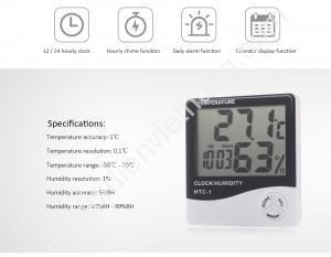 Đồng hồ nhiệt độ và độ ẩm HTC-1